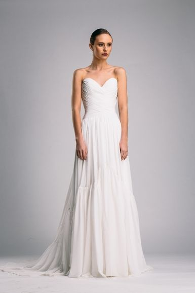 Suzanne Harward couture gown with woven silk bodice and ruffle detail