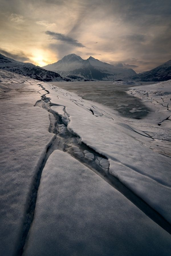 Sunset on ice, Mont-Cenis lake by Marco Barone on 500px
