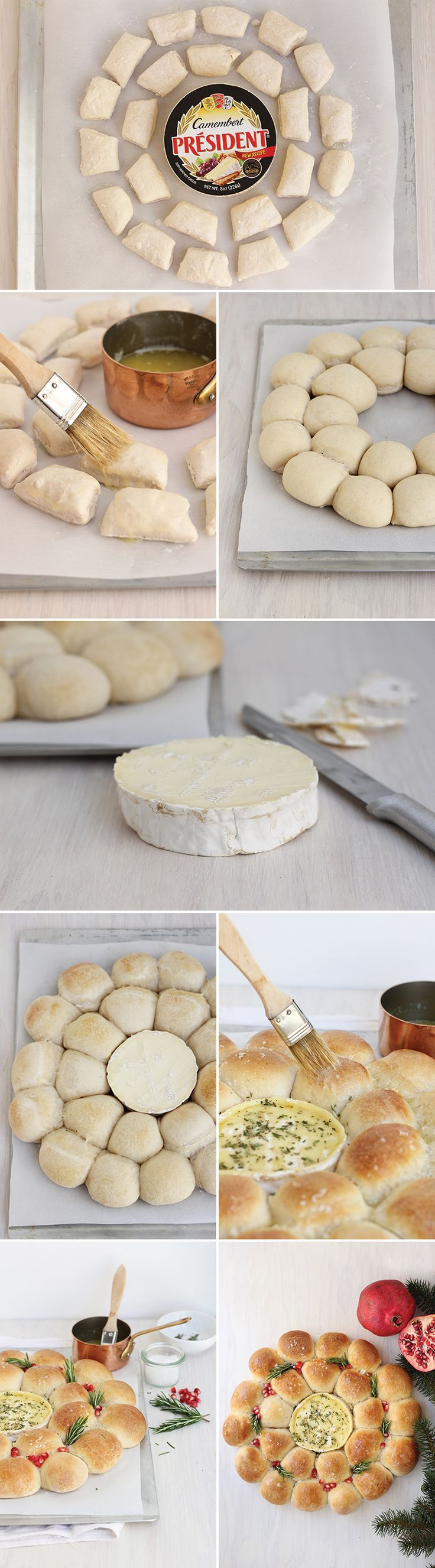 How to assemble a Baked Camembert Bread Wreath! @presidentcheese #ArtofCheese