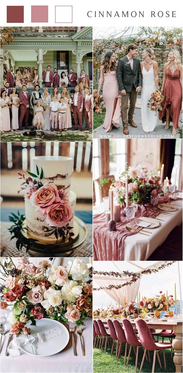 Top 15 Cinnamon Rose Bridesmaid Dresses and Wedding Color Ideas | Colors for Wedding | Dusty ...
