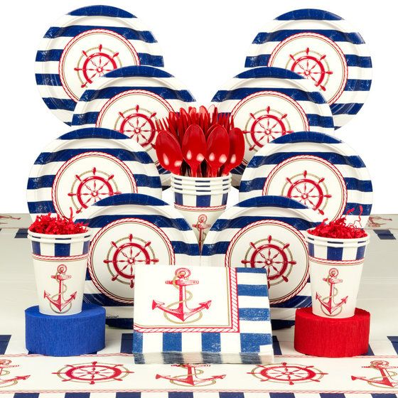 Nautical Deluxe Party Tableware Kit (Serves 8)