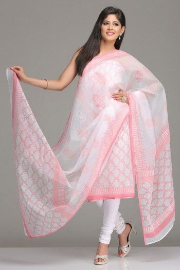 White Unstitched Kurta & Dupatta Set With Pink Abstract Checkered Pattern Hand Block Print