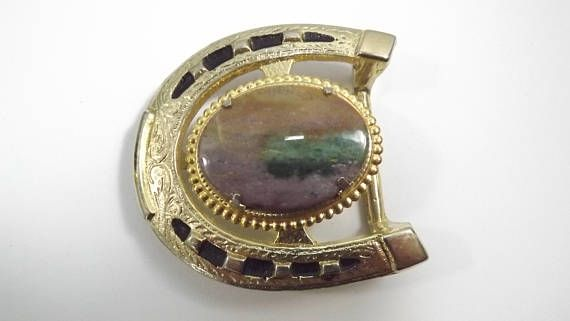 Vintage Lucky Horseshoe Belt Buckle Rock and Fronds in a Gold