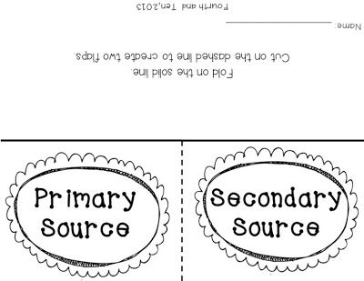 Primary and Secondary Source Freebies