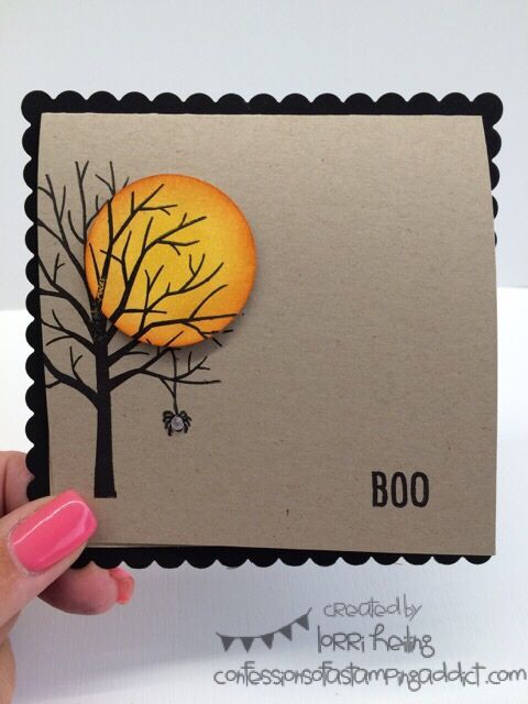 Ordinary Halloween Card Making Ideas Part - 9: Scallop Square Die Halloween Card - Sheltering Tree U0026 Happy Scenes Stamp  Sets