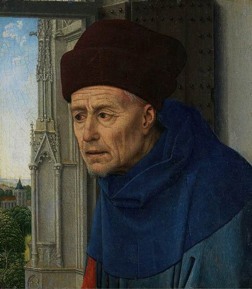 Rogier van der Weyden-San Giuseppe, Lisbona, Museo Calouste Gulbenkian. Si tratta di un frammento tagliato da un grande dipinto,probabilmente una pala d'altare della Vergine e il Bambino con i santi,di cui fa parte anche la Maddalena leggente conservata alla National Gallery di Londra.