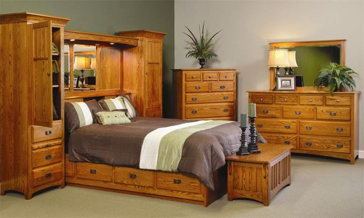 Amish Monterey Pier Wall Bed Unit With Platform Storage