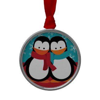 Cute Christmas Penguins Ornament