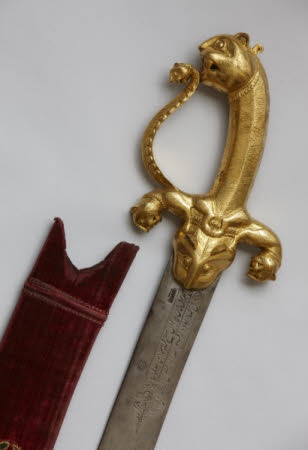 The hilt of Tipu Sultan's sword in the Clive Museum