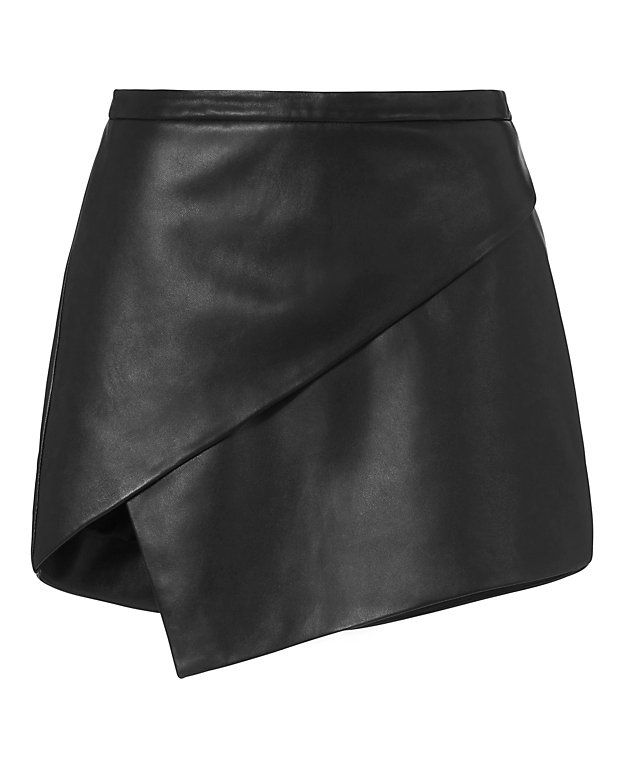 Michelle Mason Asymmetric Leather Mini Skirt: An exposed zip closure at the back adds edgy appeal to the asymmetric cut leather mini. Lined. In black. Fabric: 100% lambskin Lining: 100% polyester Imported.   Model Measurements: Height 5'10 ; Waist 24 ; Bust 33 wearing size 2  Length from waistline ...