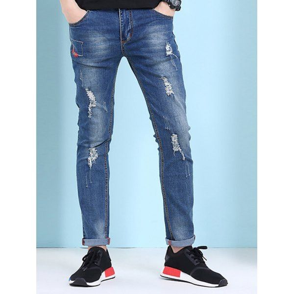 Hot Sale Straight Leg Hole Design Jeans For Men