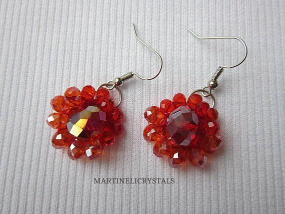 Red Dangle Flower Earrings Boho Crochet by MARTINELICRYSTALS