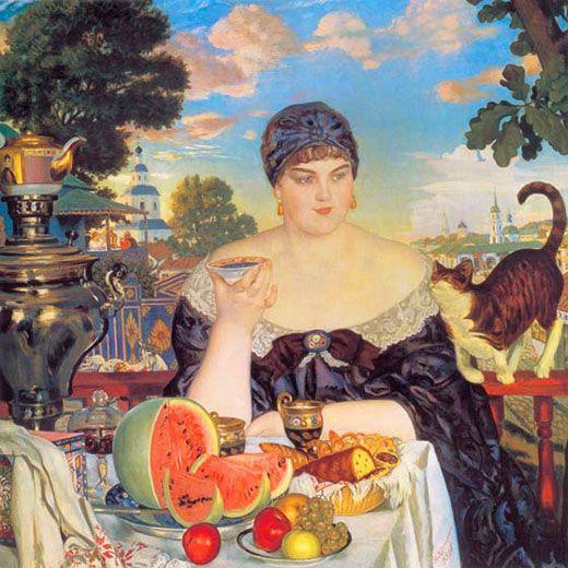 Борис Михайлович Кустодиев (1878-1927) - Купчиха за чаем / Merchant Wife at Tea Table, 1918, The State Russian Museum of St. Petersburg, Russia