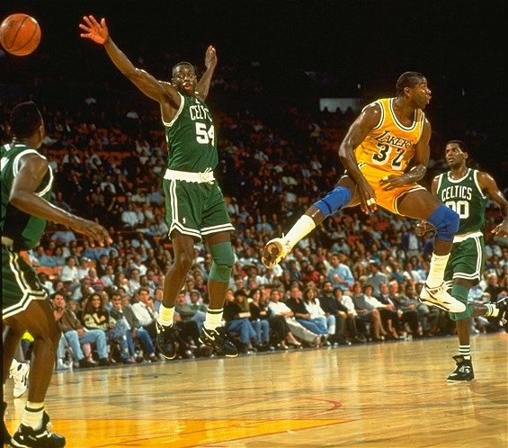 Magic Johnson, Los Angeles Lakers vs. Boston Celtics, Inglewood, Calif., 1999 (© John W. McDonough /Sports Illustrated/Getty Images)