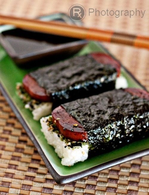 spam musubi- i substituted hoisin sauce for what is listed in the recipe,   and used a empty spam can ''cookie cutter like'' to form my rice ( just form a blob into 1 inch square between plastic wrap then use the can to cut)