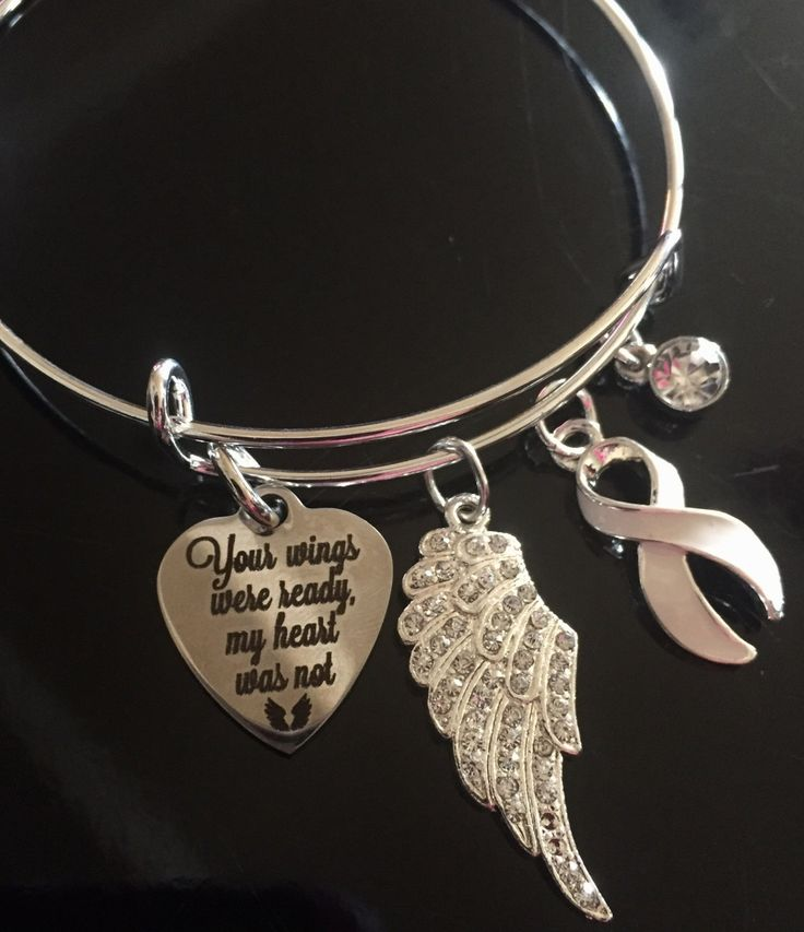 Memorial Charm Bracelet - White Clear Pearl Ribbon Charm - Lung Cancer Awareness Gift / Invisible Illness / Retinoblastoma / Angel Charm by RockYourCauseJewelry on Etsy