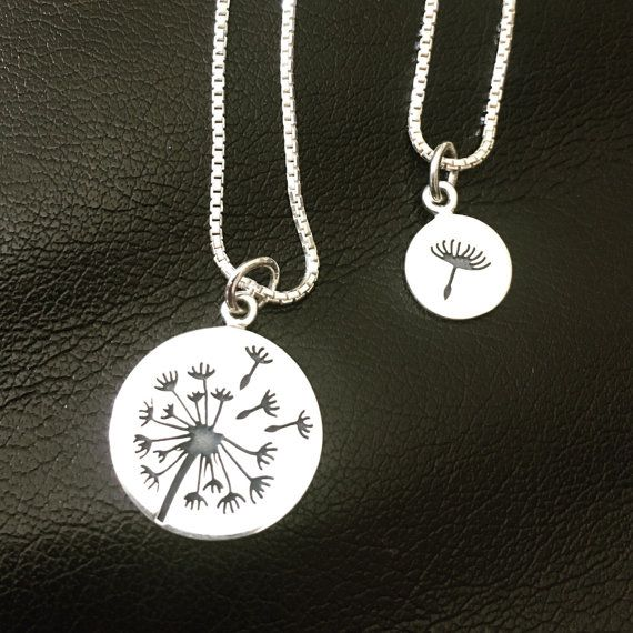 Dandelion Mother Daughter Necklace Mommy and by KristiKayDesigns