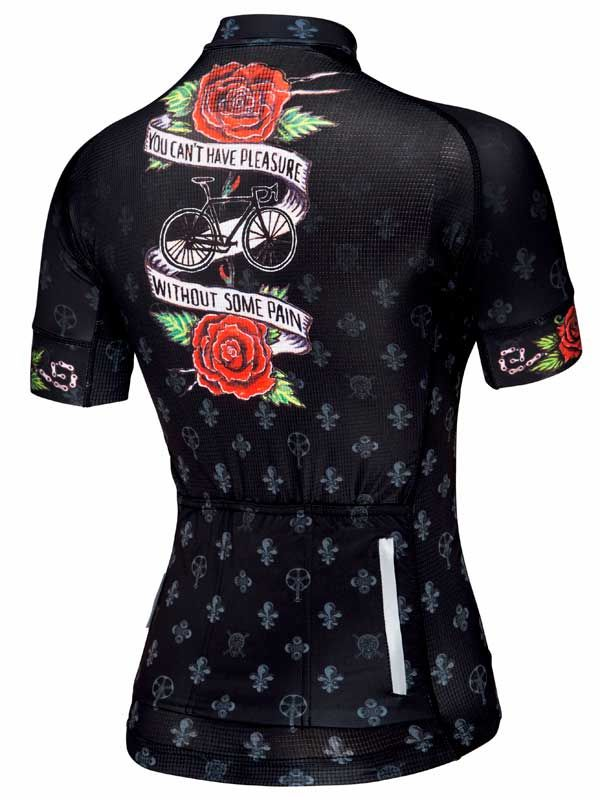 """Pleasure and Pain women's cycling jersey. """"You can't have one without the other. In our noble sport of cycling there are many moments of sheer unadulterated pleasure. The rest of the time it HURTS."""" #cycology, #cycling, #jersey"""