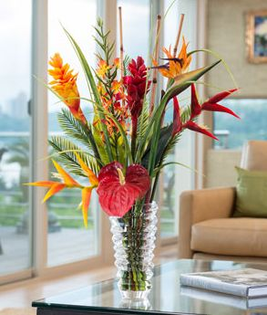 Tropical Ginger & Heliconia Silk Flower Arrangement