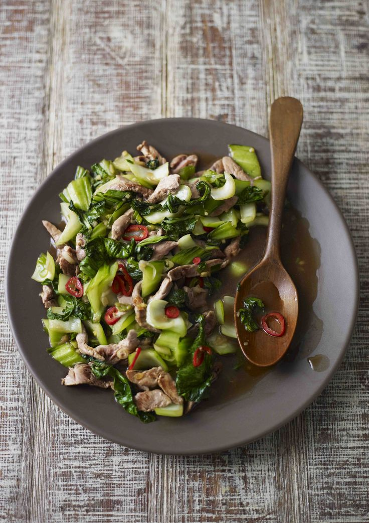 Duck is easy to get right in this Asian stir fry with punchy ginger and pak choi. It's easy to make and super healthy - under 300 calories and only takes 15 minutes.