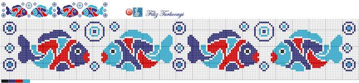 Bu balıkları bekleyenler tanıdılar hemen,biliyorum :) Bari bordür şeklinde sunayım sizlere dedim...Designed by Filiz Türkocağı...