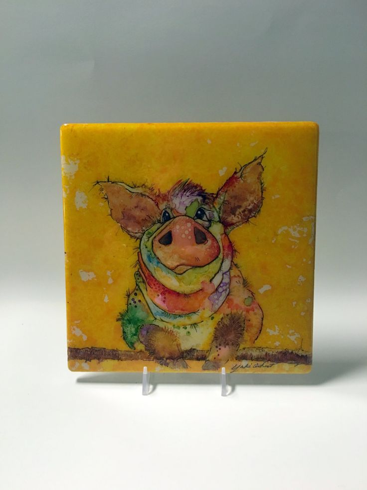 Alcohol ink art painting of pig watercolor of bardyard for Ceramic mural tutorials