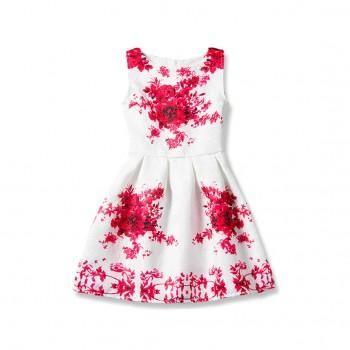 Red Floral Sleeveless Dress for Girls