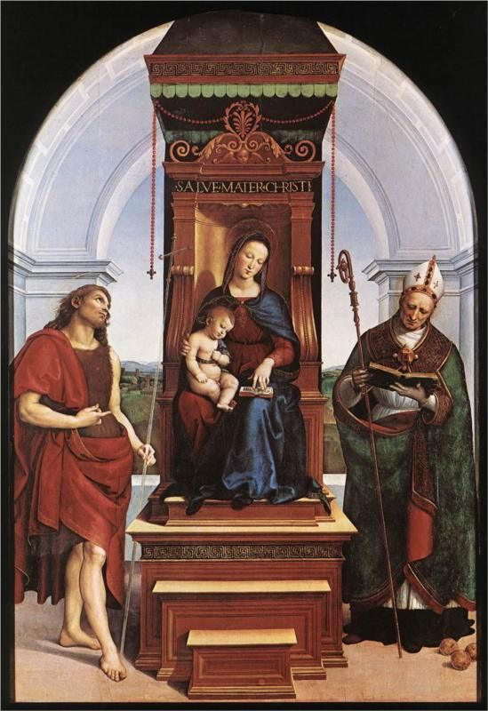 Raphael  The Madonna and Child with St. John the Baptist and St. Nicholas of Bari  1505   National Gallery, London