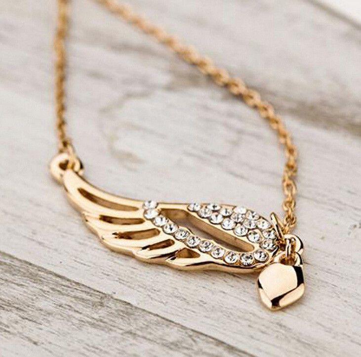 Halskette mit Anhänger��Damen Herz Kette Modeschmuck Strass Engelsflügel Gold