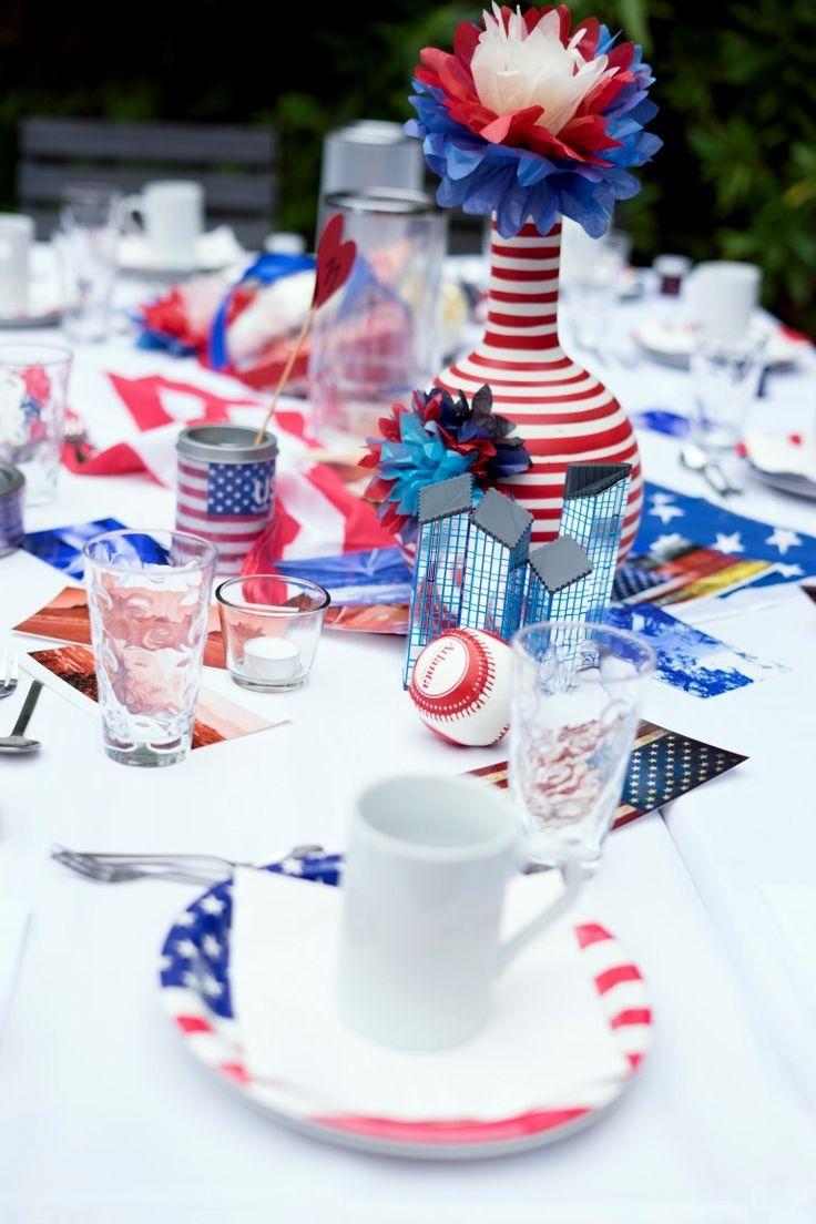 Lustige und originelle Hochzeits-Tischdeko zum Thema USA mit passenden Accessoires