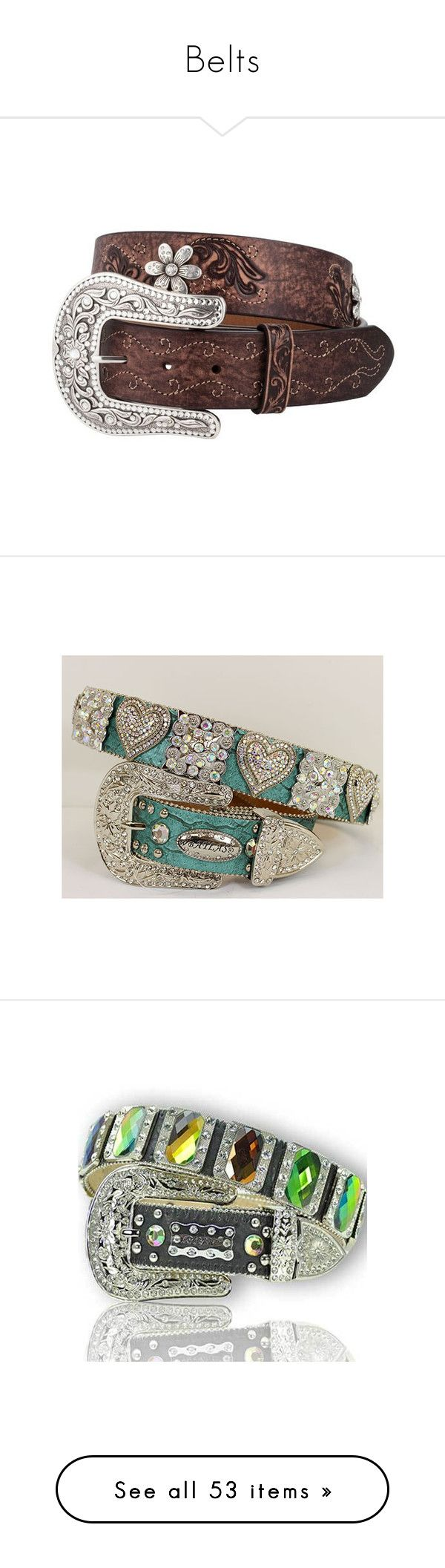 """""""Belts"""" by barrel-aesthetic ❤ liked on Polyvore featuring accessories, belts, country, buckle belt, distressed belt, rhinestone belts, rhinestone studded belt, cowgirl belts, western belts and cowboy belt"""