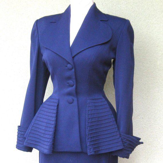 Vintage 40s Navy Blue Wool Gabardine LILLI ANN Peplum Jacket and Skirt Suit
