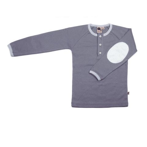 Krutter grey long sleeve T-shirt is perfect for everyday play. It's certified Oeko-Tex 100% cotton.  This grey T-shirt has a light grey elbow patch with matching button hole lining.  The neck line and wrist has a light grey trim. Made in Greece. $45.95