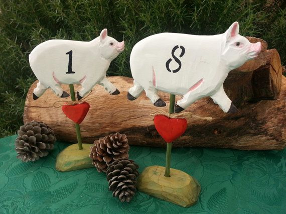 Barn, Farm Country Style Rustic Wedding Numbers - Pig Table Numbers 1 though 8 Hand painted on Etsy, $76.00
