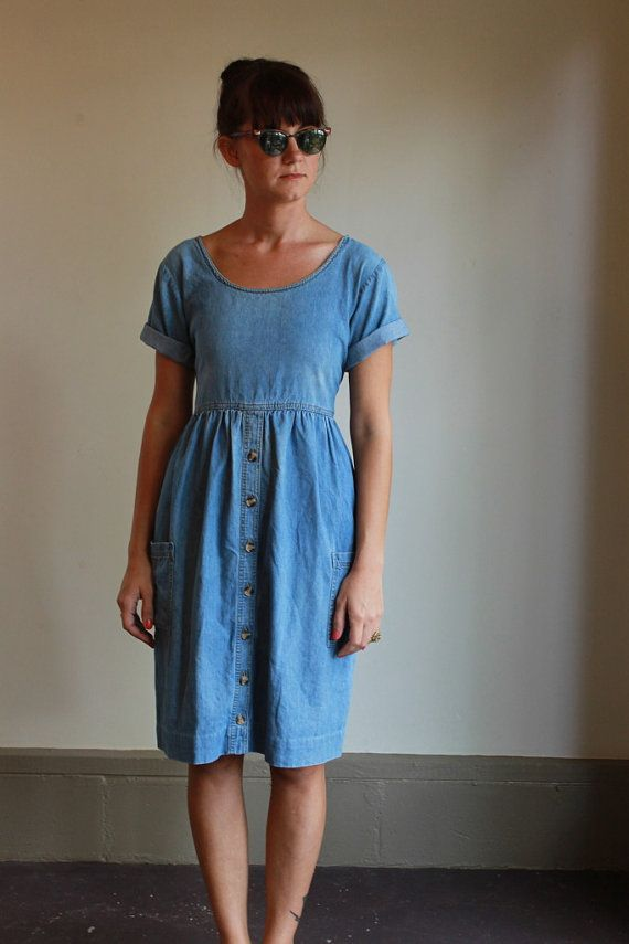 Denim Day Dress  /  Jean Dress  /  Vintage 90s  by babybirdvintage