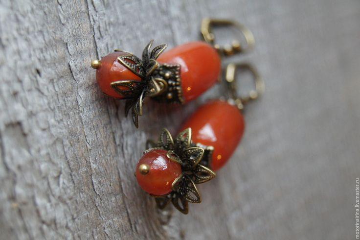 """Купить """"Осенний цвет"""" - серьги из сердолика. - рыжий, серьги, серьги ручной работы, серьги с камнями"""