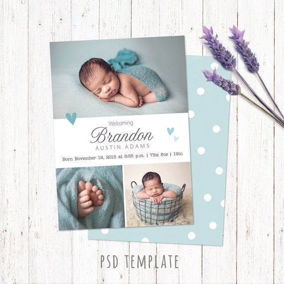 Birth announcement template card. Digital baby boy birth card for instant download. Fully editable Photoshop PSD files. Size 5x7 inches.