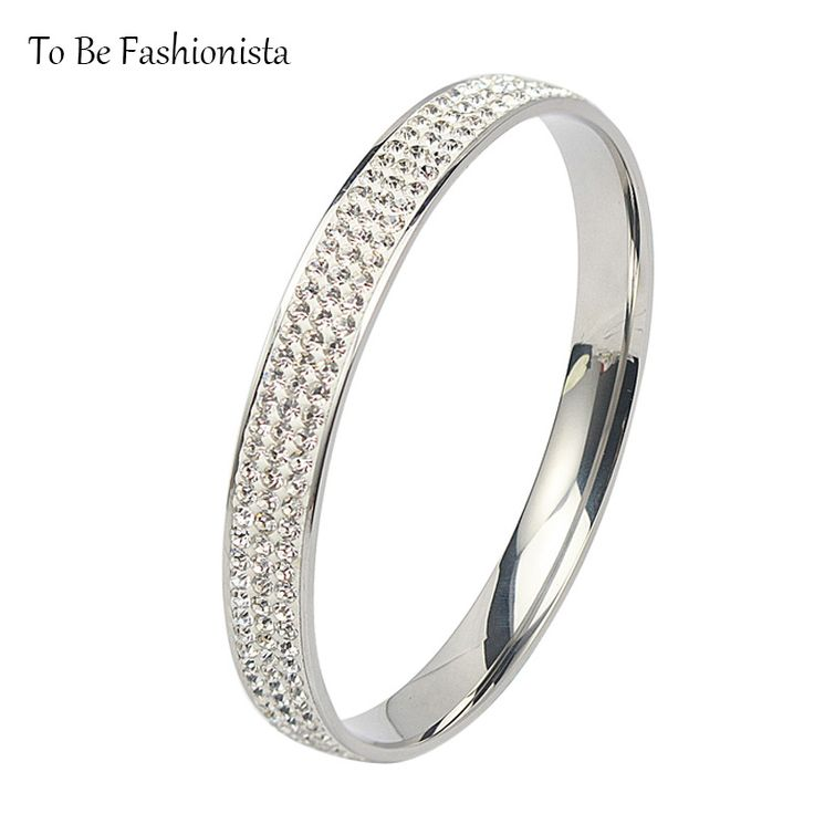 Fashionista 2017 Micro Paved Stainless Steel Bracelets & Bangles for Women Luxury Gift 8mm wide Silver Color Crystal Cuff Bangle