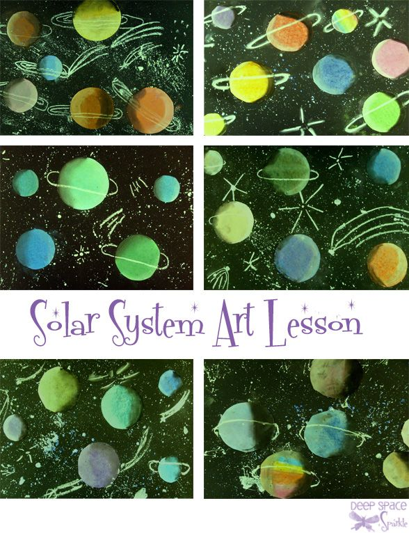 This is another good lesson on value; I might have the kids watercolor the planets first!