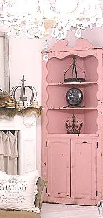 """Pink corner cabinet not in pink- but I'm searching for this piece now. now. now. if I'm to stay in this tiny house by my 34th birthday it will be my finished """"dream space"""" until the chance to move is real. baby steps toward happy."""