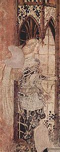 Pisanello - Fresco del monumento a Niccolò Brenzoni en San Fermo Maggiore en Verona, Escena:Arcángel Rafael, 1424-1426