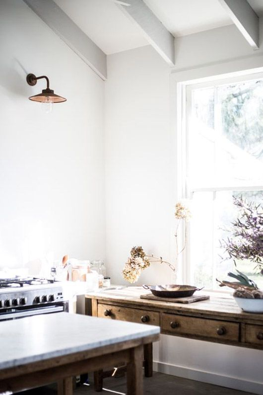 kitchen with white beamed ceilings / sfgirlbybay
