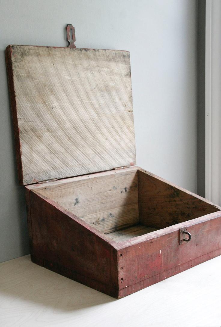 Vintage storage primitive red slant top