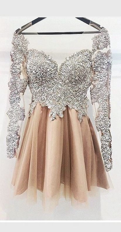 Long Sleeves Silver Chamagne Cute Homecoming Dress,Vintage Short Prom Dress…