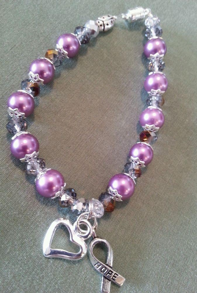 Pancreatic cancer awareness glass pearl bracelet