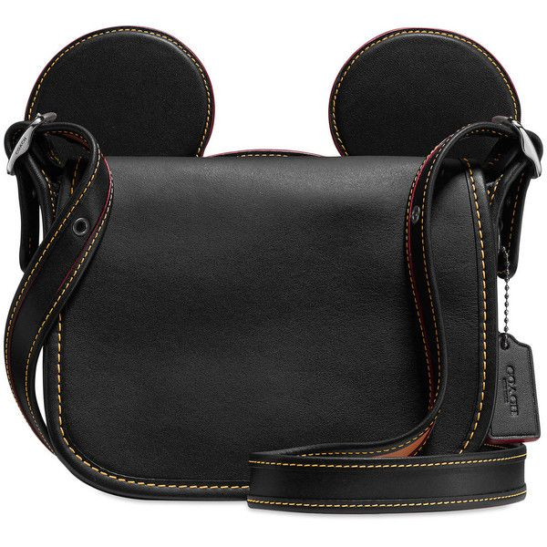 Mickey Mouse Ears Patricia Leather Saddle Bag by COACH Black ($280) ❤ liked on Polyvore featuring bags, handbags, shoulder bags, real leather shoulder bags, leather handbags, leather shoulder bag, saddle bags and 100 leather handbags