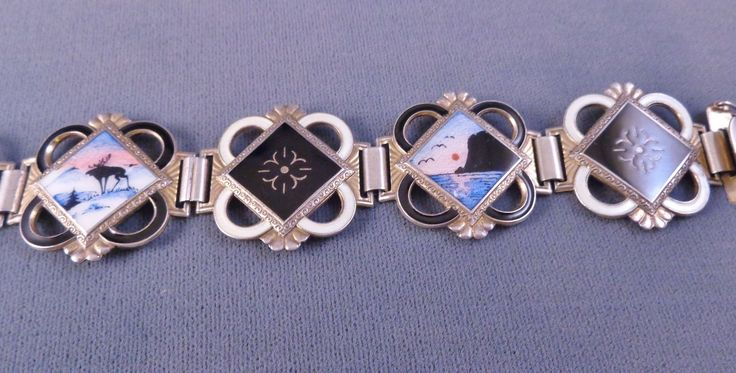 Gorgeous Antique NORNE Enamel Bracelet Scenic Signed Aksel Holmsen 30s-40s in Jewelry & Watches, Vintage & Antique Jewelry, Costume, Retro, Vintage 1930s-1980s, Bracelets | eBay
