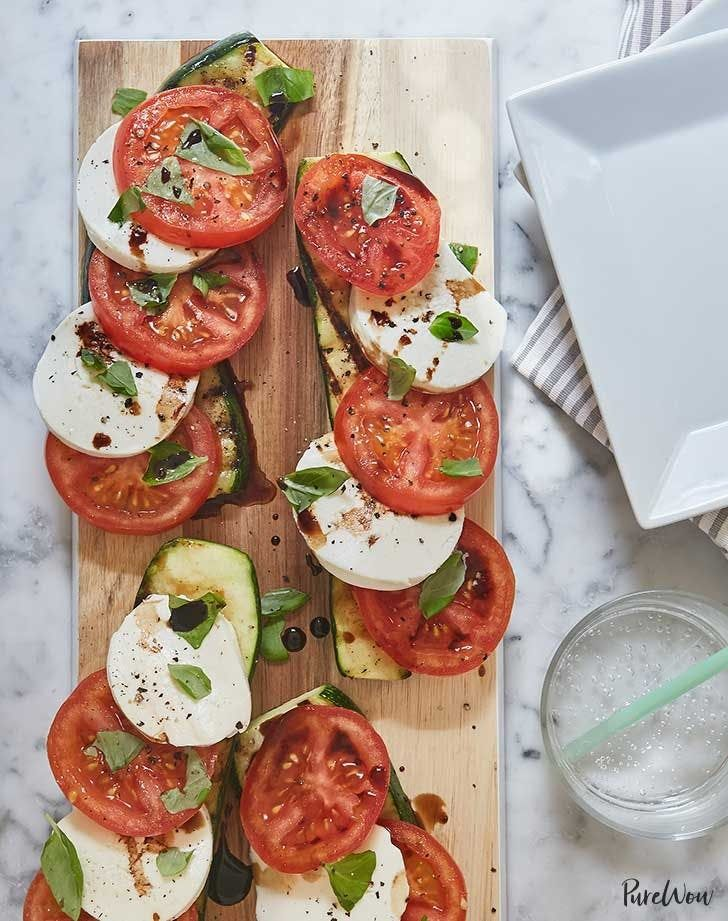 Caprese salad with grilled zucchini. Get the recipe.