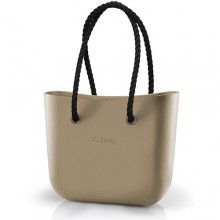 O bag kabelka písková s černými provazovými držadly - 1870 Kč