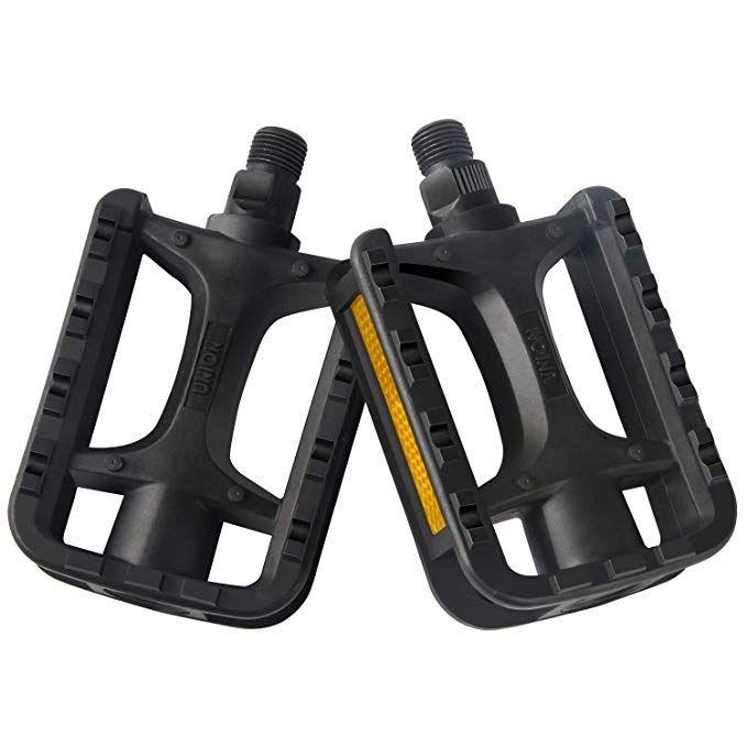 Road Mountain Bike Platform Pedals Flat Carbon Fiber Sealed Bearing Pedal 9//16in